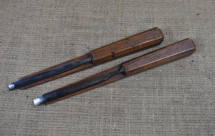Pair of sash scribing chisels.
