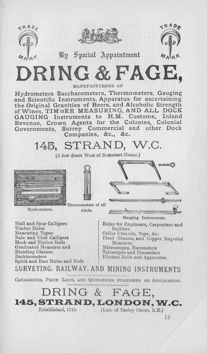 Advert for Dring & Fage from 'The Standard Stave Measurer and Calculator' 1891