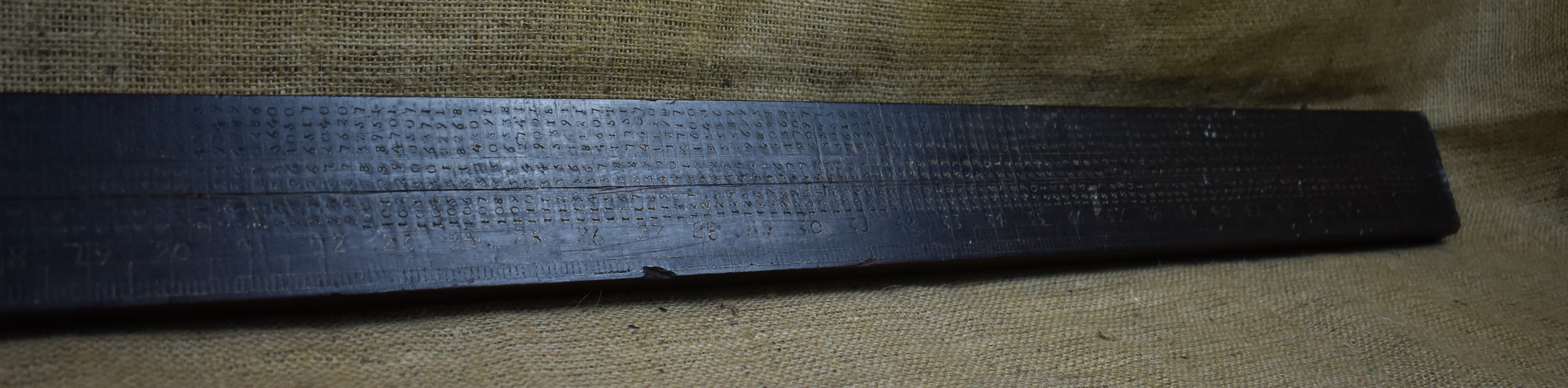 "48"" Slide rule inscribed and dated RD 1836."