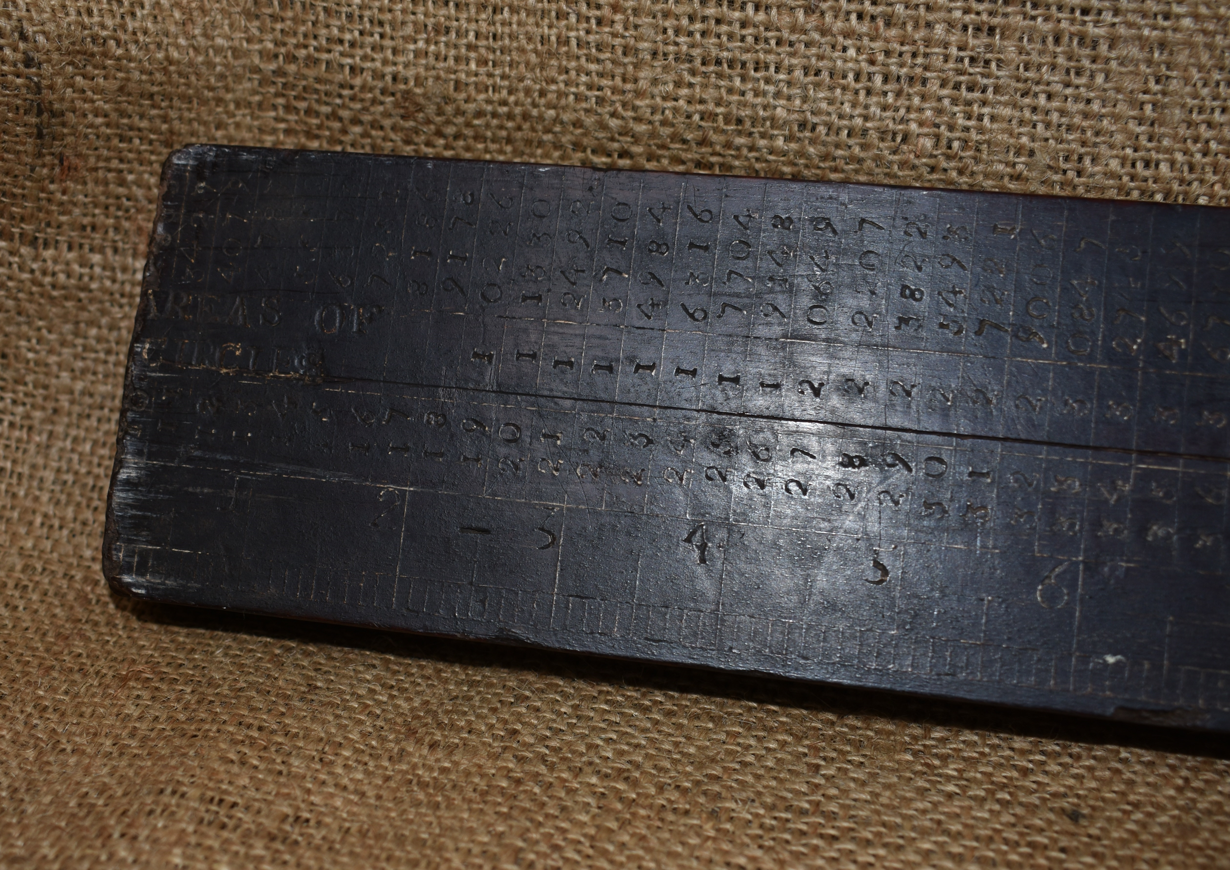 """48"""" Slide rule inscribed and dated RD 1836."""