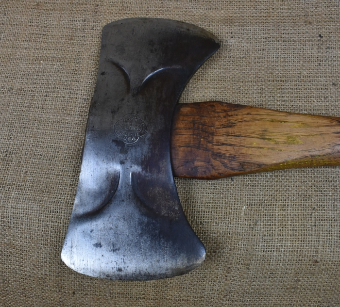 Double bitted axe by Belknap, Louisville, Blue Grass Trademark. Weight approx. 4lb