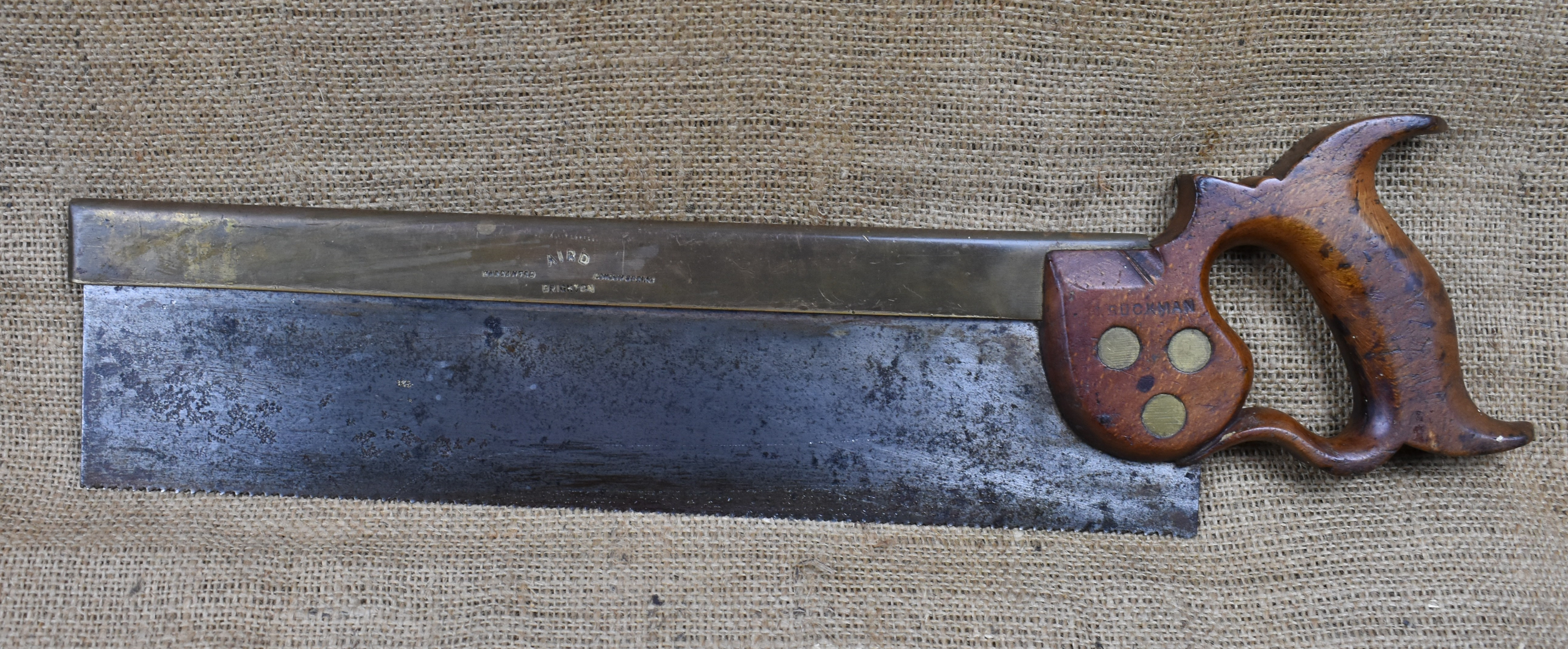 """14"""" Brass Backed Tenon Saw. Marked 'Warranted London Spring' and 'Aird, Brighton'"""