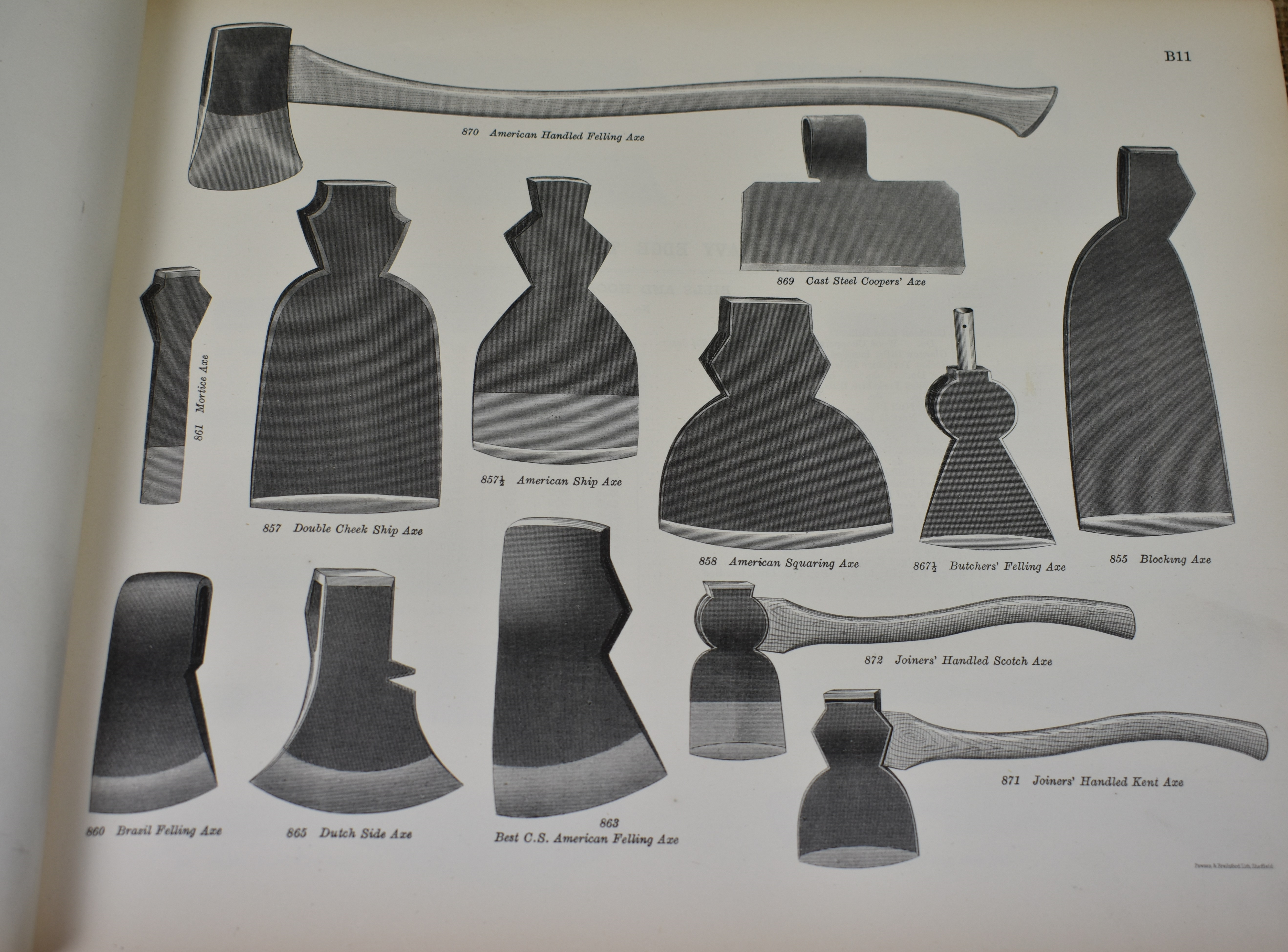 Axe page from the Sheffield Illustrated List, 1888