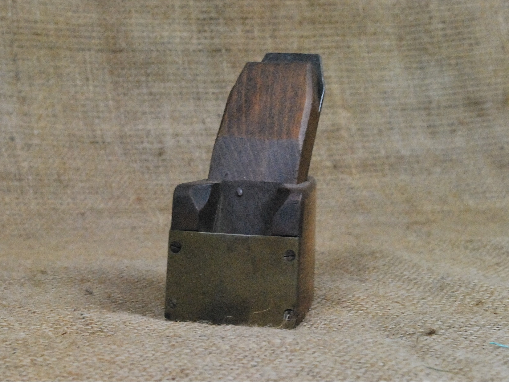 "2"" x 3"" Brass fronted wooden bullnose plane."