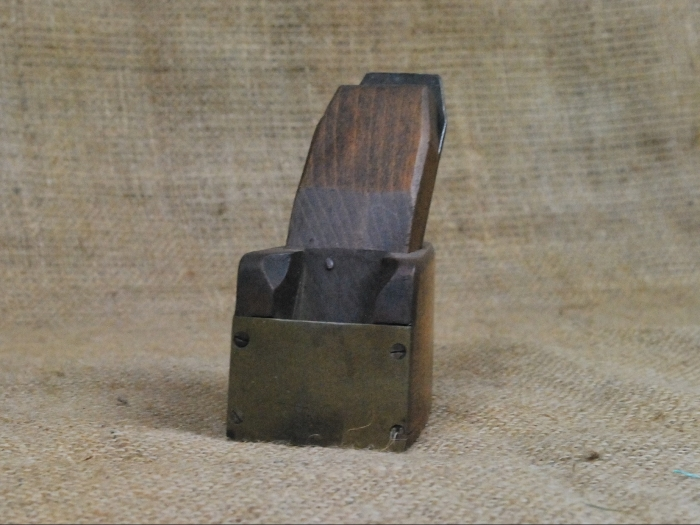 """2"""" x 3"""" Brass fronted wooden bullnose plane."""