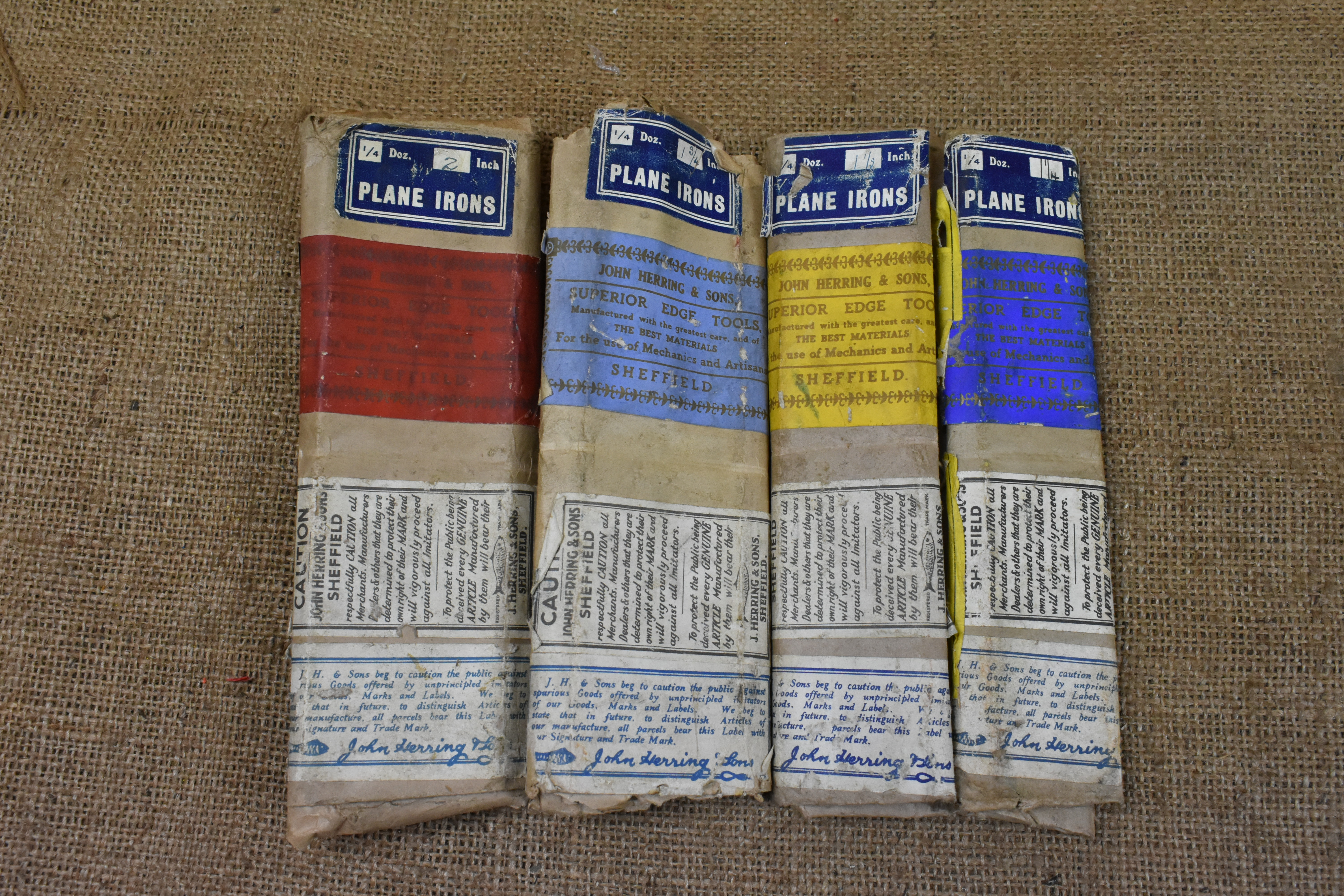 n Herring & Sons, Sheffield, plane iron packaging.