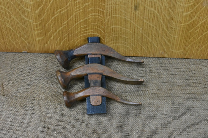 3 x Wooden Patterns for French Shoe Hammers, from George Barnsley & Sons, Cornish Works, Sheffield.