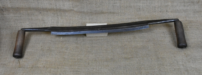 "Heading knife with 16"" edge by D.R.Barton, New York, Total width approx. 27""."